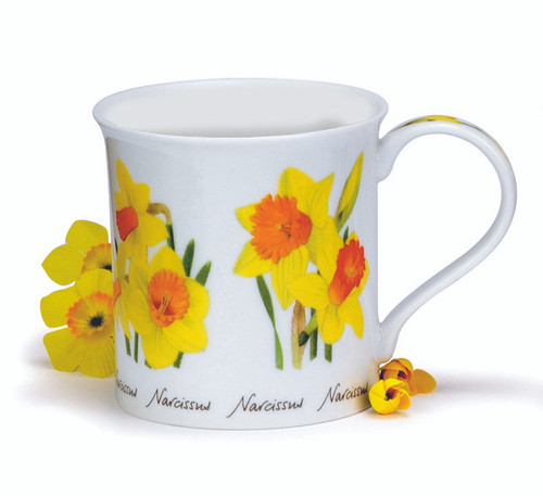 Dunoon Spring Flowers Narcissus bone china mug in the Bute shape.
