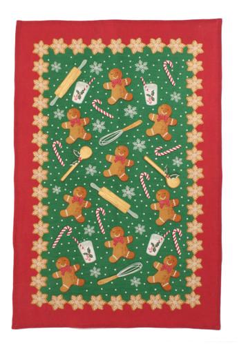 Gingerbread Men 100% linen tea towel from Ulster Weavers.