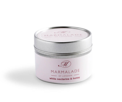 White Nectarine & Honey small tin candle from Marmalade of London.