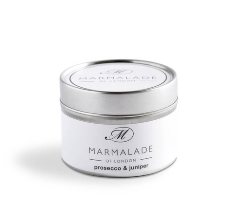 Prosecco & Juniper small tin candle from Marmalade of London.