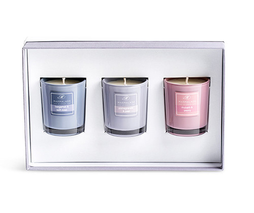 Fruity Floral set of 3 votives boxed from Marmalade of London.