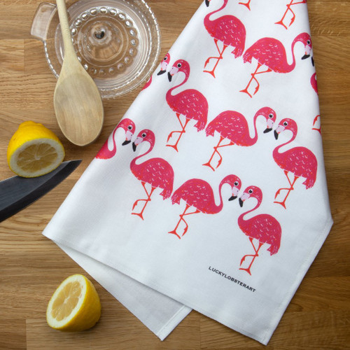 Flamingo tea towel with design from the original lino print artwork from Lucky Lobster Art in England.