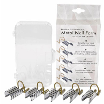 Reusable Aluminum Nail Form | Silver Design 5/Pk