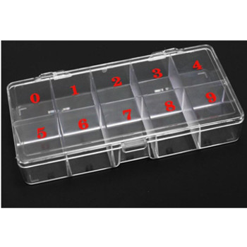 10-Slot Hard Plastic Small Clear Tip Box