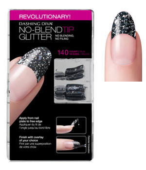 Dashing Diva - No Blend Tip Glitter-Black 96/Box