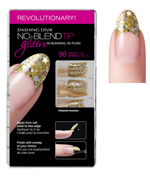 Dashing Diva - No Blend Tip Glitter-Gold 96/Box