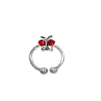 Adjustable Toe Ring Red ButterFly