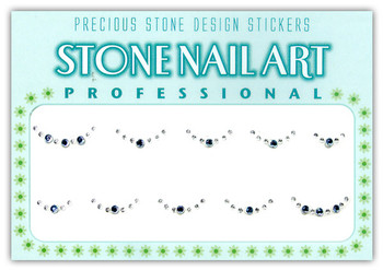 Stone Nail Art - Round Lt. Blue & Crystal Dots