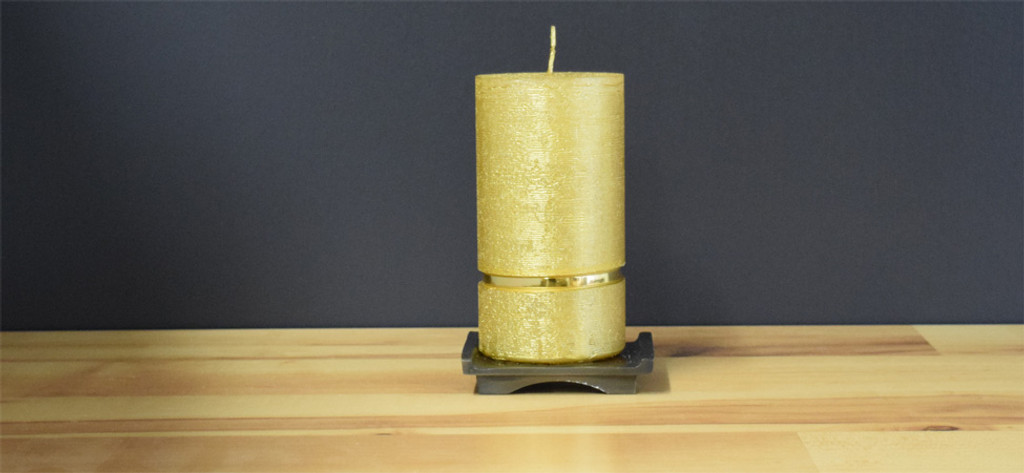 Gold Dripless Pillar Candle
