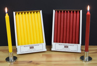 Pack of 24 Sun Yellow and Red Kiri Dinner Candle Tapers.