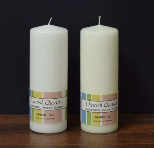 "2.75"" x 7.75"" White and Ivory Danish Pillar candles"