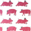 Gift Wrap - Pigs - White/Pink/Metallic Silver