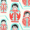 Gift Wrap - Matryoshka Dolls - Cream/Black, Green and Red Metallic
