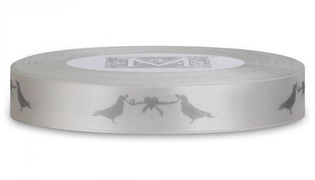 Silver ink Love Birds on Alabaster Ribbon - Double Faced Satin Symbols