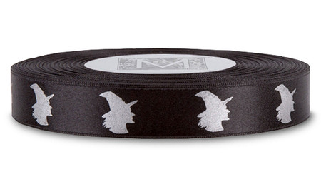Silver ink Witch on Black Ribbon - Double Faced Satin Symbols