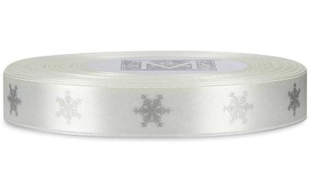 Silver Snowflake on Alabaster Ribbon - Double Faced Satin Symbols
