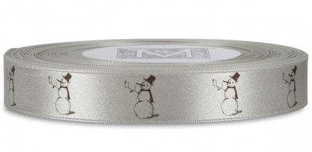 Brown Snowman on Oyster Ribbon - Double Faced Satin Symbols