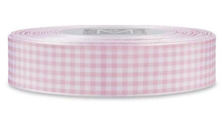 Checked Taffeta Ribbon - White/Pink