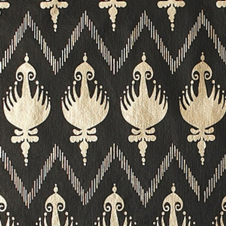 Gift Wrap - Ikat- Black/Metallic Gold