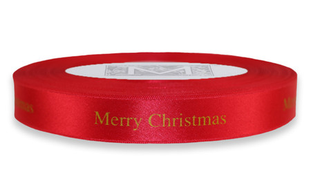 "Gold ""Merry Christmas "" on Red Ribbon - Double Faced Satin Sayings"