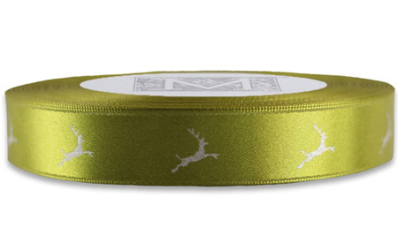 Silver Reindeer on Fig Ribbon - Double Faced Satin Symbols