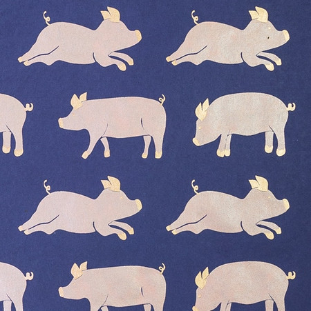 Gift Wrap - Pigs - Metallic Gold/Peach/Navy