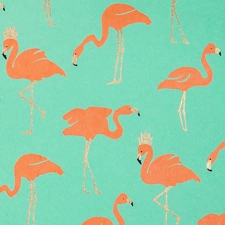 Gift Wrap - Flamingo - Metallic Gold/Orange/Mint Green