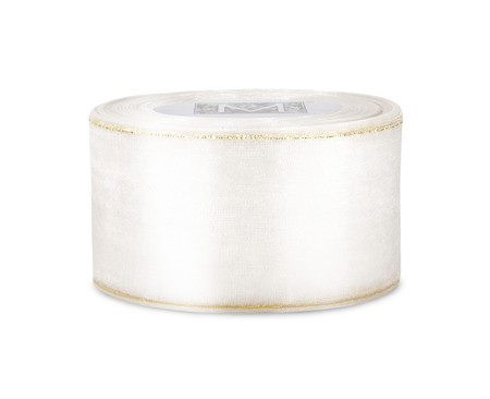 Edged Organdy Ribbon - White/Gold