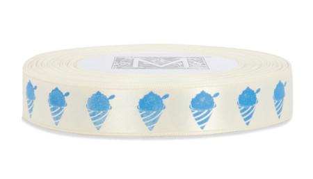 Blue ink Shaved Ice on Bone Ribbon - Double Faced Satin Symbols