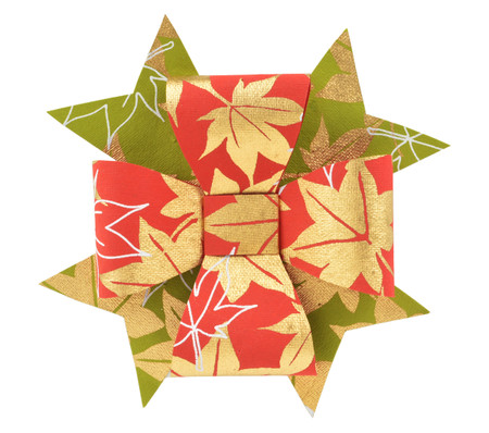 Paper Double Bow Topper - Red/Bamboo