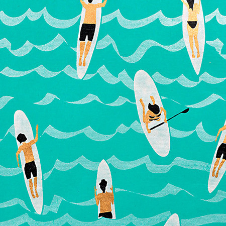 Gift Wrap - Surfers - Blue/Metallic Light Blue, White, Black and Gold