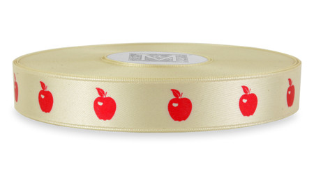 Red Ink Apple on Bone Ribbon - Double Faced Satin Symbols