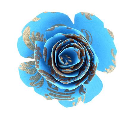 Paper Rose Topper - Pineapple Blue/Gold