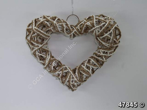 "[47845] 12x10""jute rope/cotton glittered heart"