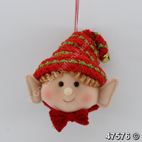 "[47576] 6"" Boy Elf Head Ornament"