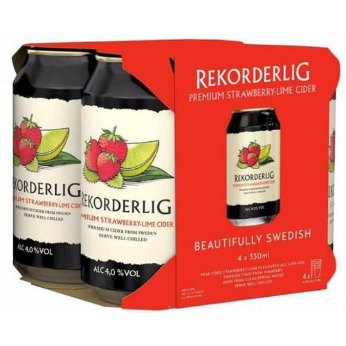 Rekorderlig Premium Strawberry-Lime Cider 12oz 4 Pack