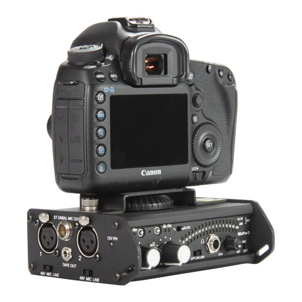 MixPre D with DSLR camera mounted on optional SDXLCAM camera bracket