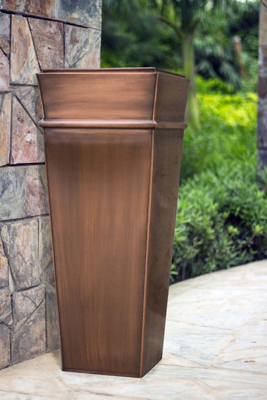 H Potter Planter Tall Antique Copper Indoor Outdoor Patio