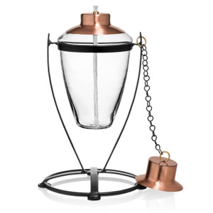 H Potter Table Top Glass Torch with Copper Top Tiki Torch