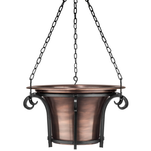 H Potter Hanging Planter for Outdoor Plants - Metal, Round, Copper Finish - Patio, Balcony, Deck