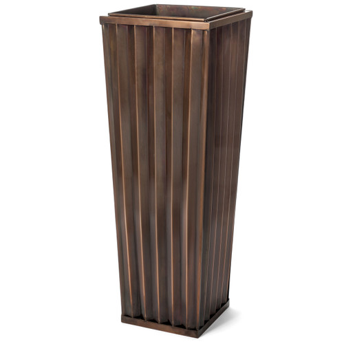 H Potter Large Planter Patio Deck Flower Ribbed Garden Planter Antique Copper Finish