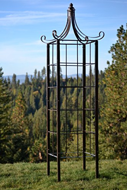 H Potter Trellis Wrought Iron Ornamental Large Garden Obelisk for Climbing Plants