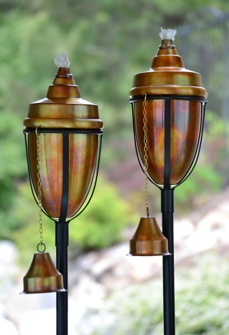 Perfect H Potter Rustic Copper Tiki Torch Set Of 2 ...