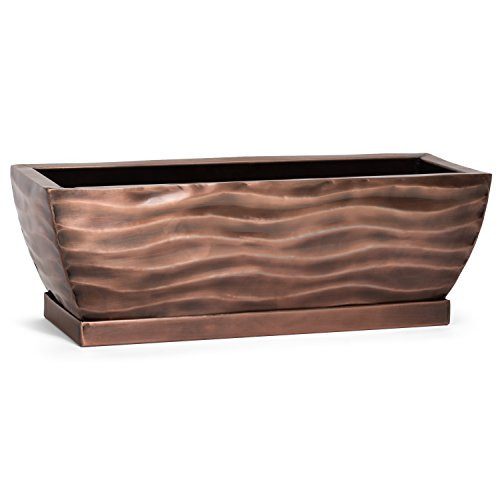 Classic style planter, handcrafted by artisans makes a fantastic gift     Stainless steel planter box perfect for any location     Use indoor as a window sill planter box for herbs or succulents     Use on a deck or patio filled with lovely flowering beauties     Custom drip tray does the job without being noticed     12 inches long x 4 inches wide x 4 inches high