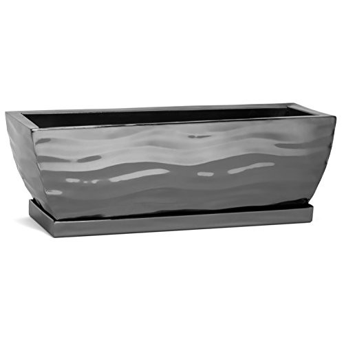 Classic style planter, handcrafted by artisans makes a fantastic gift     Stainless steel planter box perfect for any location     Use indoor as a window sill planter box for herbs or succulents     Use on a deck or patio filled with lovely flowering beauties     Custom drip tray does the job without being noticed     Approximately 12 inches long x 4 inches wide x  4 inches high