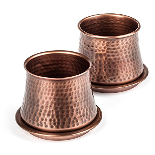 Classic style planter set, hand hammered by artisans     Set of two stainless steel planter pots with antique copper finish     Use indoors on a window sill as an herb planter in the kitchen     Use on a deck or patio filled with lovely little flowering beauties     Planter pot is approximately 4 inches diameter at widest by 3.25 inches high     Top opening approximately 3 inches