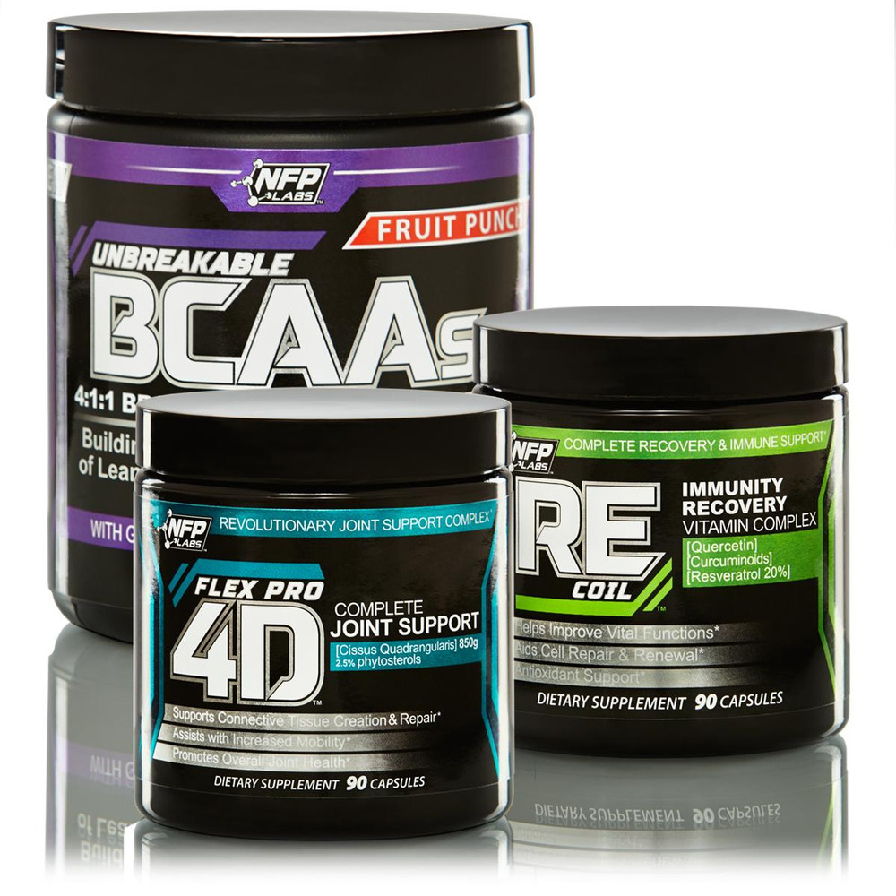 The Recovery Stack is a combination of supplements formulated to help the body's recovery processes and immune properties. Take care of your health on a cellular level by using these two capsule products in combination with a drink mix powder. REcoil Multi-Vitamin, FlexPro 4D Joint Support and Unbreakable BCAAs.