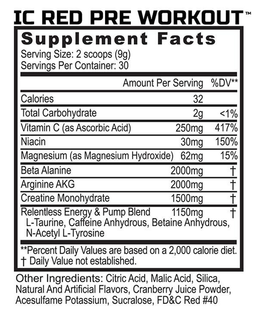 IC Red - Pre-Workout - Supplement Facts