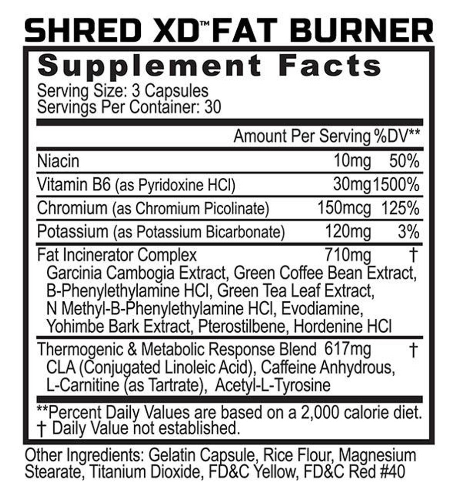 Shred XD - Fat Burner/Thermogenic - Supplement Facts