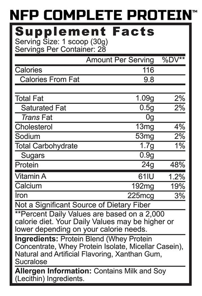 NFP Complete - Protein Blend - Supplement Facts